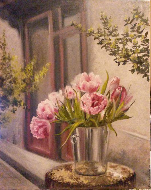 Картины цветов ручной работы. Ярмарка Мастеров - ручная работа. Купить Картина маслом на холсте Тюльпаны. Handmade. Розовый, тюльпаны