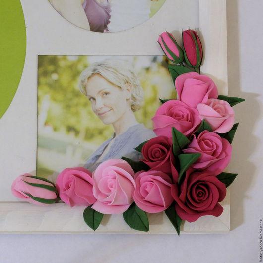 Фоторамки ручной работы. Ярмарка Мастеров - ручная работа. Купить Фоторамка с розовыми розами из полимерной глины. Handmade. Розовый