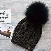 Шапки ручной работы. Ярмарка Мастеров - ручная работа Зимняя шапка с помпоном. Handmade.