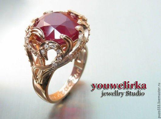 Кольца ручной работы. Ярмарка Мастеров - ручная работа. Купить Золотое кольцо с рубином. Handmade. Натуральные камни, кольцо для предложения