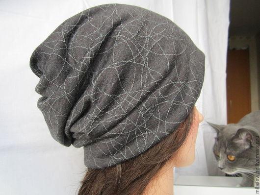 """шапка-носок """"Серые котики"""" из  трикотажа весна-осень. Из тонкой ткани - для помещения и на теплую погоду. Состав ткани: вискоза, эластан, хлопок."""
