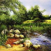 Картины ручной работы. Ярмарка Мастеров - ручная работа Пейзаж с рекой. Handmade.
