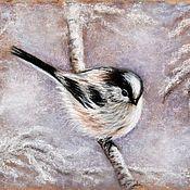 Картины и панно ручной работы. Ярмарка Мастеров - ручная работа картина пастелью Снежная птичка. Handmade.