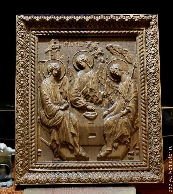Резная Икона из дерева - Святая Троица, Иконы, Владимир, Фото №1