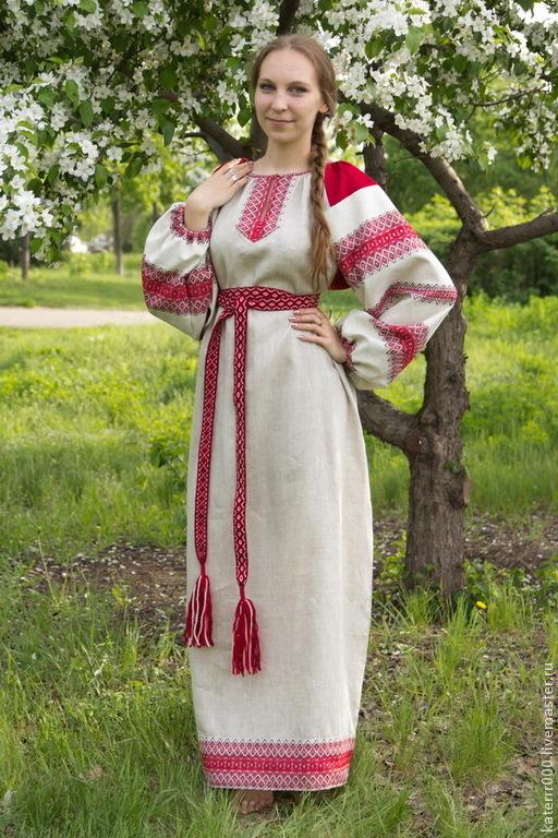 """Одежда ручной работы. Ярмарка Мастеров - ручная работа. Купить Платье """"Этно"""" небеленый лен, вариант 2. Handmade."""