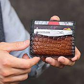 handmade. Livemaster - original item Hand-colored crocodile leather cardholder Tony&Leo. Handmade.