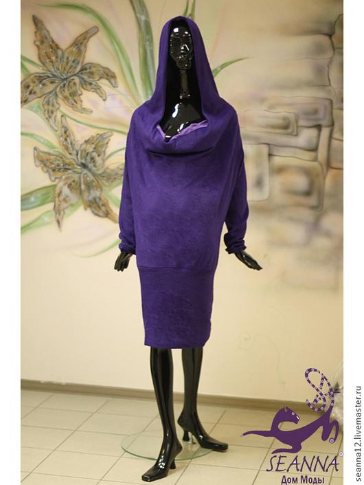 Большие размеры ручной работы. Ярмарка Мастеров - ручная работа. Купить Платье-туника вязаное из мохера с капюшоном инапуском скрывает животик. Handmade.