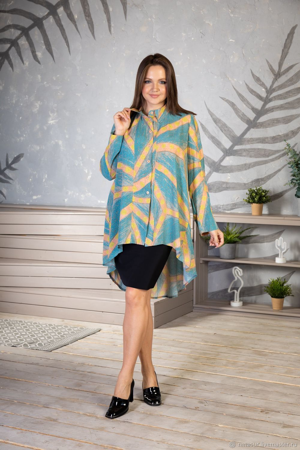 Viscose blouse ' Sand and Turquoise', Blouses, Novosibirsk,  Фото №1