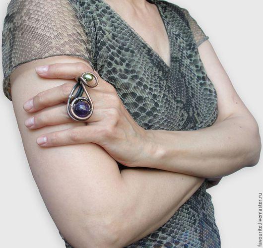 """Кольца ручной работы. Ярмарка Мастеров - ручная работа. Купить Кольцо медное с аметистом """"Infinity"""" - Бесконечность, безграничность. Handmade. Фиолетовый"""