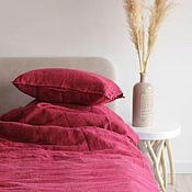 Для дома и интерьера handmade. Livemaster - original item Linen made of linen Burgundy-Elite linen set. Handmade.