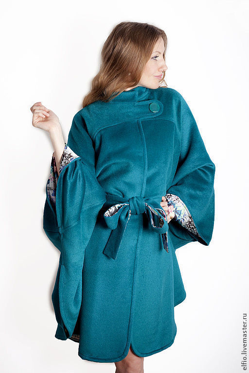 Верхняя одежда ручной работы. Ярмарка Мастеров - ручная работа. Купить Пальто пончо  из шерсти с кашемиром на шелковой подкладке. Handmade.