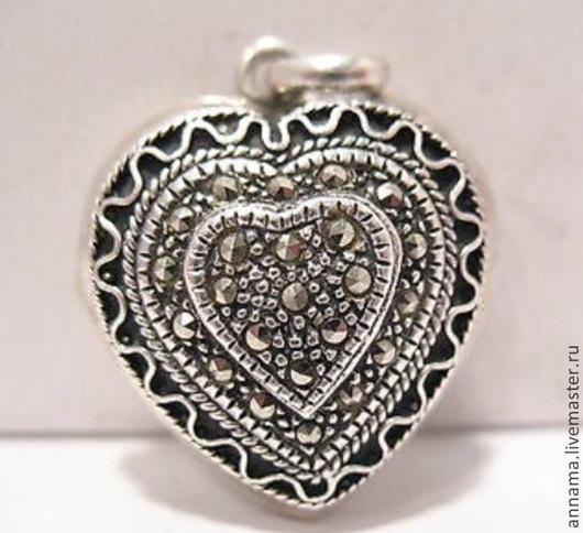 Для украшений ручной работы. Ярмарка Мастеров - ручная работа. Купить Медальон Пылкое сердце с марказитами серебро 925. Handmade.