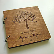 Книги ручной работы. Ярмарка Мастеров - ручная работа Книга пожеланий деревянная. С деревом. Handmade.