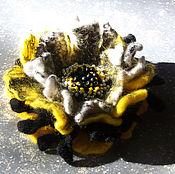 """Украшения ручной работы. Ярмарка Мастеров - ручная работа Брошь валяная """"Желтый микс"""". Handmade."""