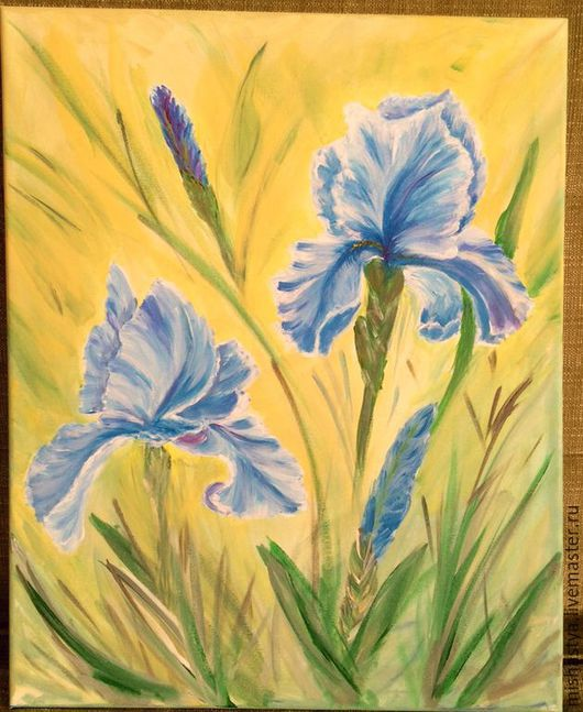 Картины цветов ручной работы. Ярмарка Мастеров - ручная работа. Купить Ирисы. Handmade. Синий, хлопок