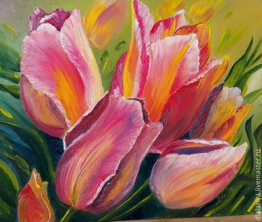 Картины цветов ручной работы. Ярмарка Мастеров - ручная работа. Купить Картина маслом тюльпаны Улыбка весны. Handmade. Оранжевый