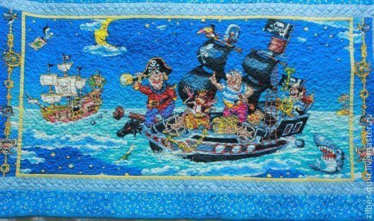 """Пледы и одеяла ручной работы. Ярмарка Мастеров - ручная работа. Купить Детское покрывало """"Пираты"""". Handmade. Пираты, подарок для мальчика"""