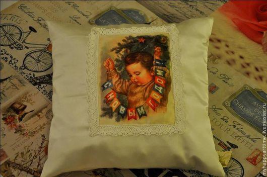 """Детская ручной работы. Ярмарка Мастеров - ручная работа. Купить интерьерная подушечка """"С Новым годом"""". Handmade. Белый"""
