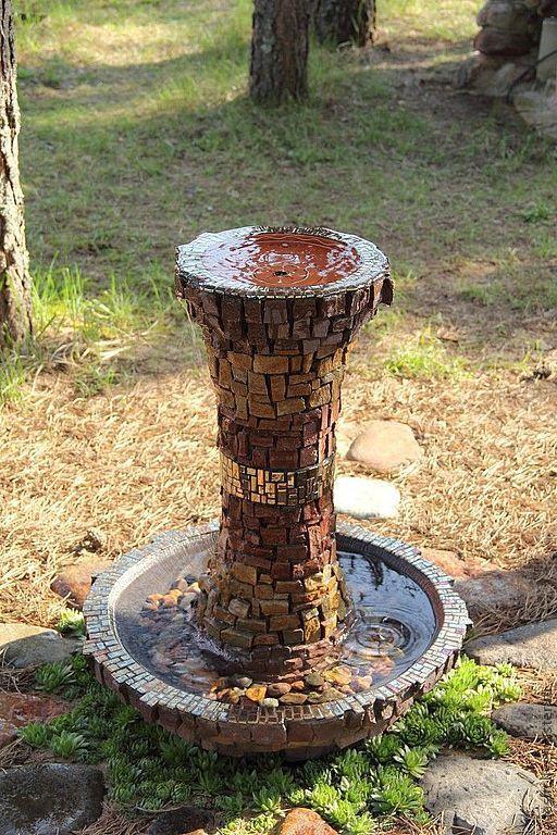 Экстерьер и дача ручной работы. Ярмарка Мастеров - ручная работа. Купить фонтан из камня с мозаикой. Handmade. Натуральные камни, дача