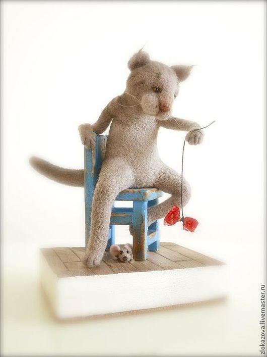 Куклы и игрушки ручной работы. Ярмарка Мастеров - ручная работа. Купить кот-мышелов. Handmade. Серый, кот и мышь, дерево