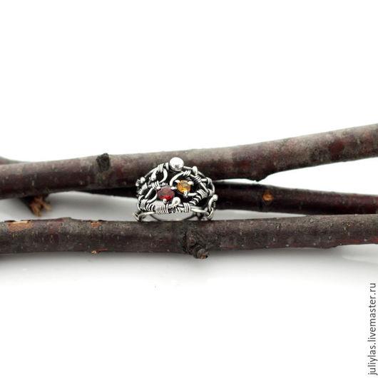 Кольцо серебро 925 с золотым цитрином и гранатом украшение серебряное