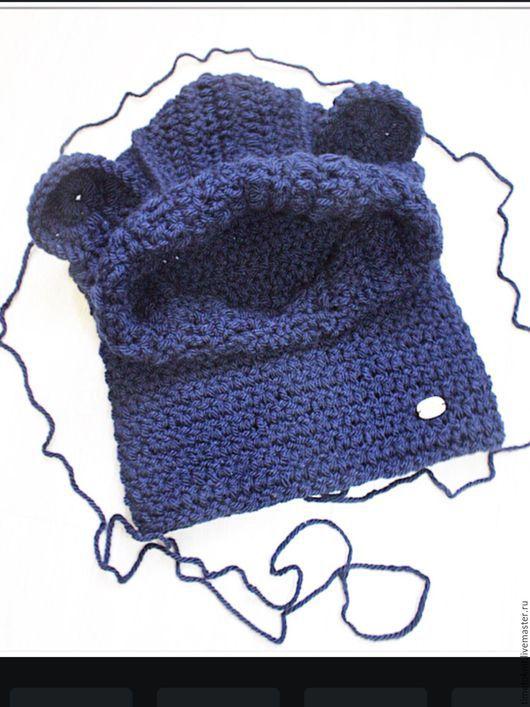 Шапки и шарфы ручной работы. Ярмарка Мастеров - ручная работа. Купить Снуд-капюшон с ушками. Handmade. Тёмно-синий