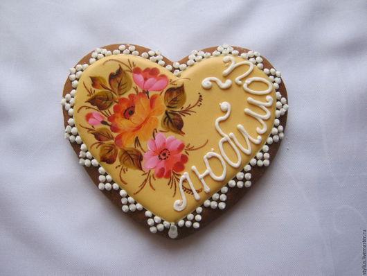 """Персональные подарки ручной работы. Ярмарка Мастеров - ручная работа. Купить Пряничное сердце """"Цветы"""". Handmade. Комбинированный, пряники"""