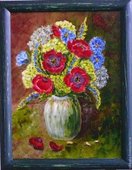 Натюрморт ручной работы. Ярмарка Мастеров - ручная работа. Купить Полевые цветы в банке. Handmade. Разноцветный, картина в подарок, подарок