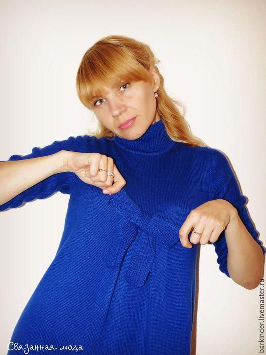 """Платья ручной работы. Ярмарка Мастеров - ручная работа. Купить Вязаное платье  """"Синева"""". Handmade. Тёмно-синий, меринос 100%"""