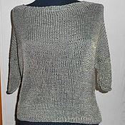 Одежда ручной работы. Ярмарка Мастеров - ручная работа Вязаный свитер Монвизо, лен хлопок, Италия, бохо. Handmade.