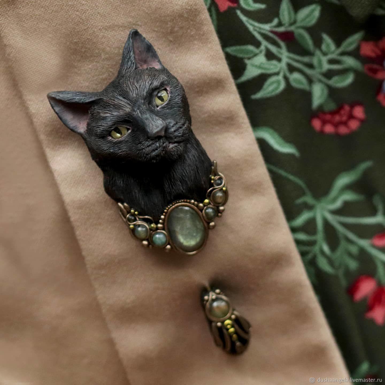 Brooch needle: ' Black cat ' modern, animals, Stick pin, Vladimir,  Фото №1