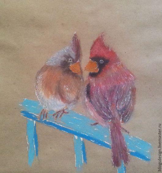 Животные ручной работы. Ярмарка Мастеров - ручная работа. Купить Дорогой, ну все же смотрят! Маленький рисунок кардиналов на крафте. Handmade.