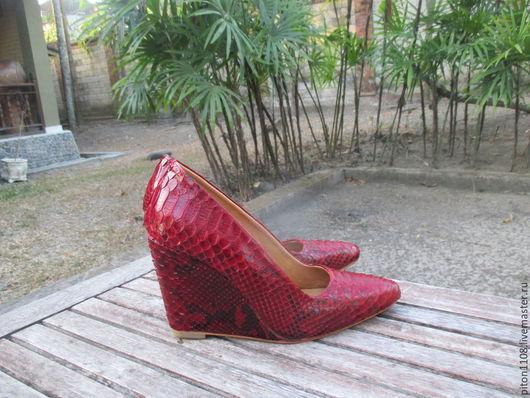Обувь ручной работы. Ярмарка Мастеров - ручная работа. Купить Туфли из кожи питона на платформе. Handmade. Туфли