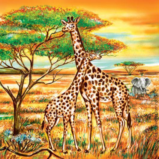 ручной работы. Ярмарка Мастеров - ручная работа. Купить Жирафы (SDOG006001) - салфетка для декупажа. Handmade. Декупаж, жираф, африка, природа