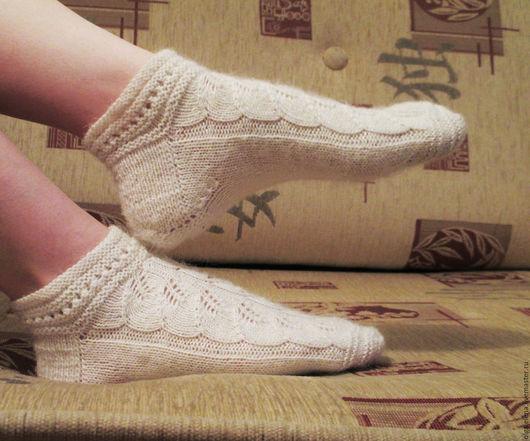 Носки, Чулки ручной работы. Ярмарка Мастеров - ручная работа. Купить Теплые ажурные носочки. Handmade. Белый, носки ажурные