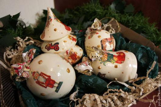 """Подарочные наборы ручной работы. Ярмарка Мастеров - ручная работа. Купить Набор новогодних шаров """"Игрушки"""", 4 шт. Handmade."""