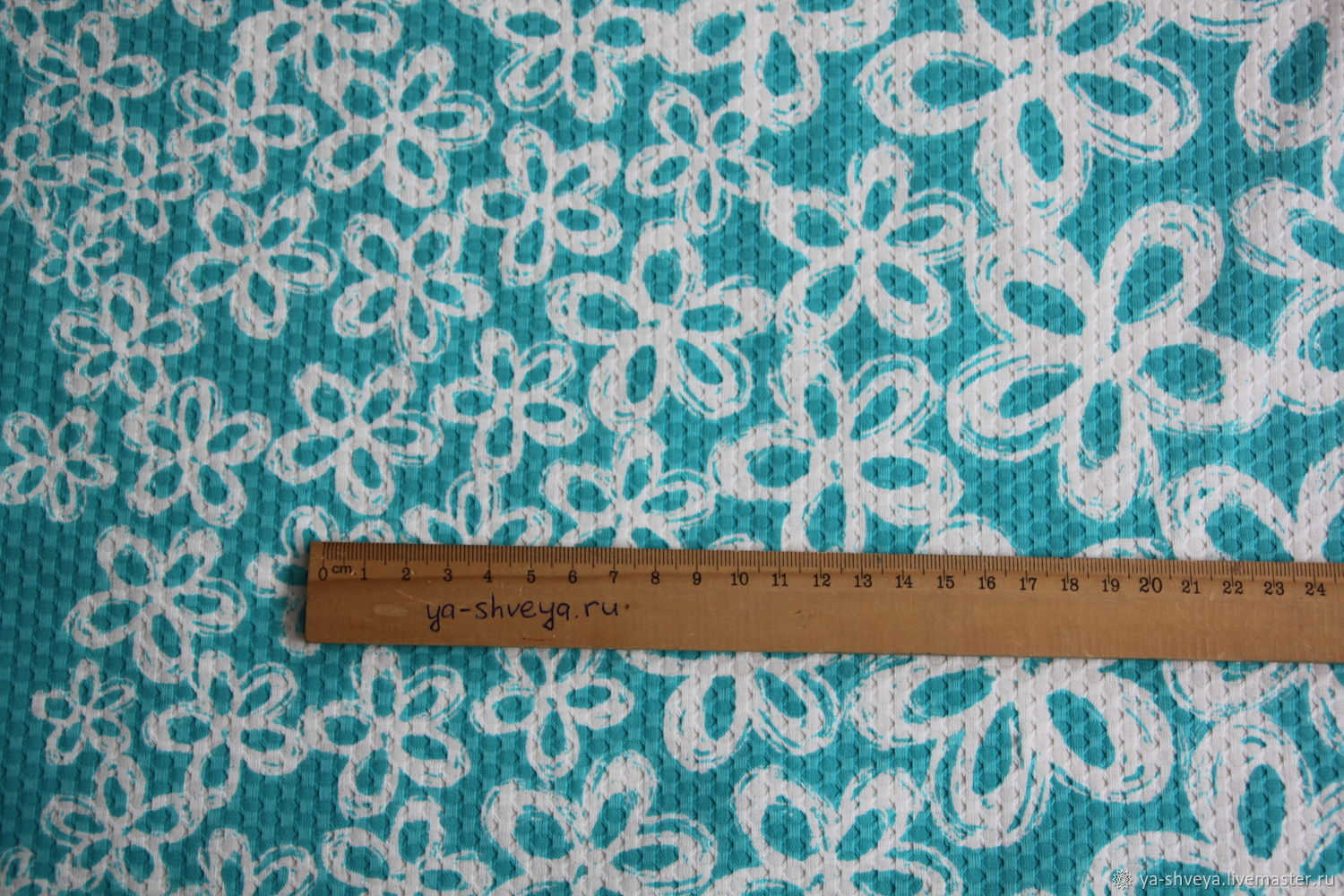 Cotton jacquard stretch 'Flowers on turquoise', Fabric, Moscow,  Фото №1