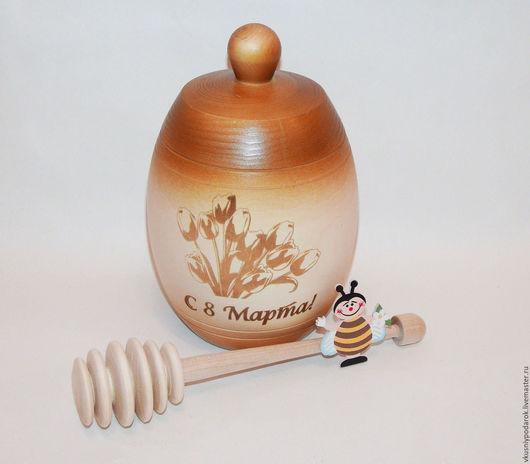 """Кухня ручной работы. Ярмарка Мастеров - ручная работа. Купить Бочонок для меда/варенья """"С 8 Марта"""". Handmade. Необычный подарок"""