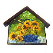 Для дома и интерьера ручной работы. Ярмарка Мастеров - ручная работа Ключница-домик Подсолнухи цветы. Handmade.