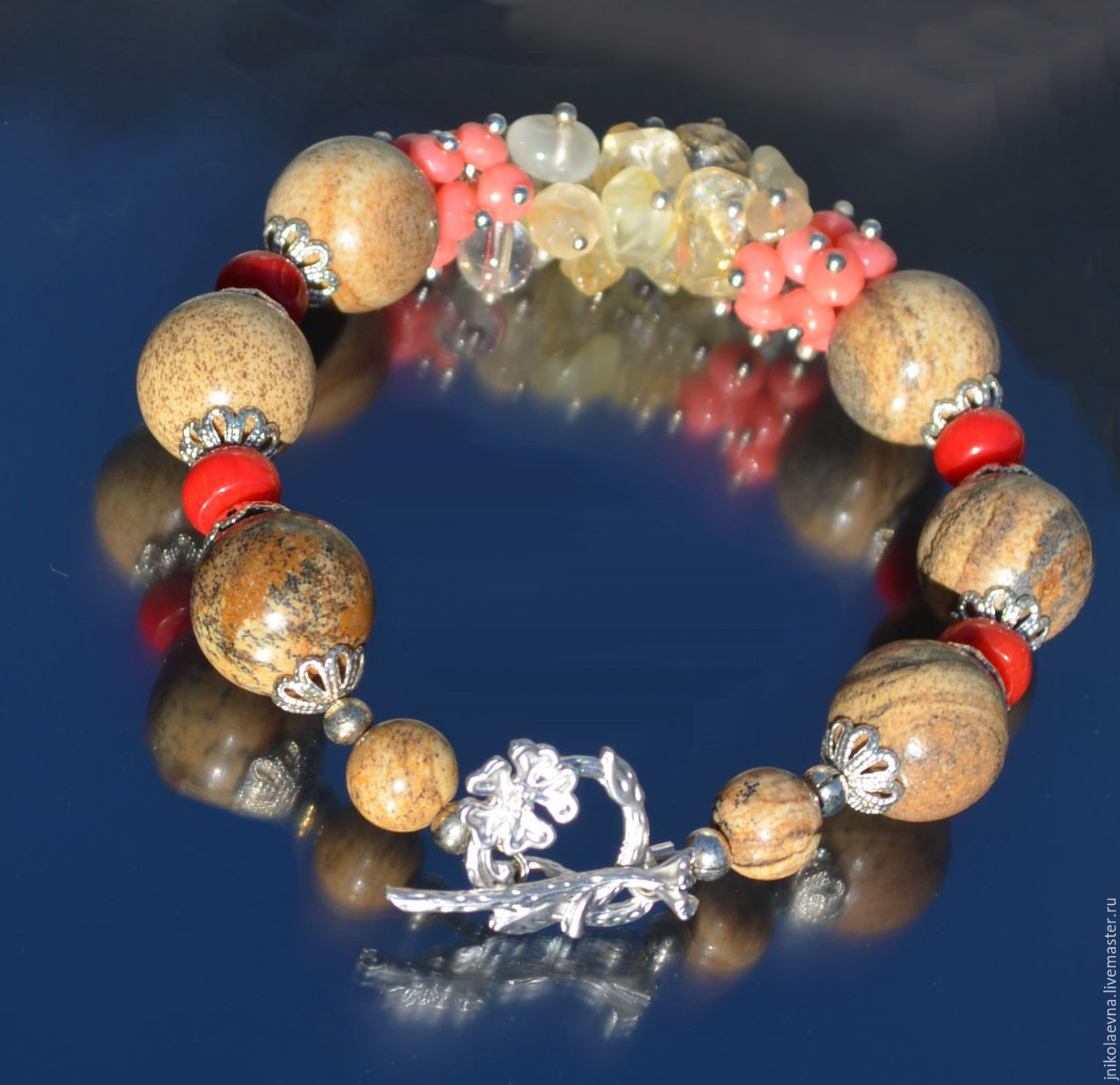 Нарядная яшма браслет из натуральных камней