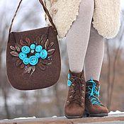 Обувь ручной работы. Ярмарка Мастеров - ручная работа Комплект - ботинки и сумочка из войлока. Handmade.