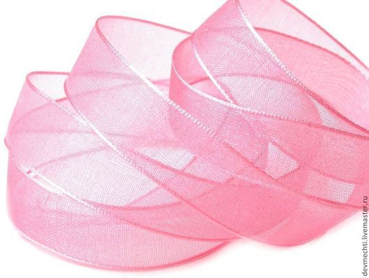 Лента из органзы розовая 15 мм .