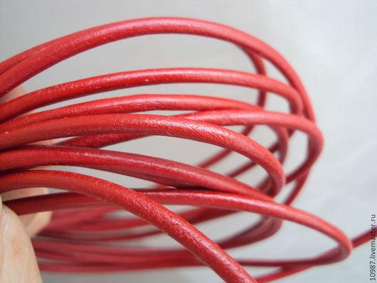 Для украшений ручной работы. Ярмарка Мастеров - ручная работа. Купить Шнур кожаный 3 мм красный.. Handmade. Шнур