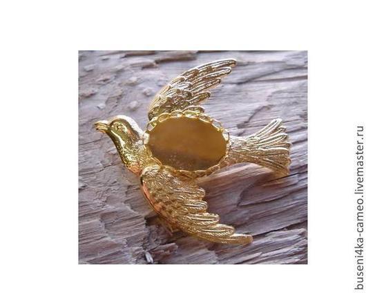 Для украшений ручной работы. Ярмарка Мастеров - ручная работа. Купить Основа для брошки Птица 13х18мм, под золото. Handmade.