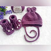 Работы для детей, handmade. Livemaster - original item Knitted cap and booties set 3-6 months. Handmade.