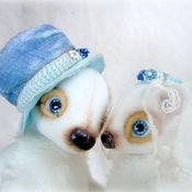 Куклы и игрушки ручной работы. Ярмарка Мастеров - ручная работа Свадебная пара в молочно-синих тонах. Мишки тедди.. Handmade.