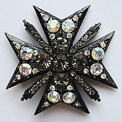 Черный мальтийский крест  Редкая геральдическая винтажная брошь