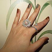 "Украшения handmade. Livemaster - original item Double ring ""Pearl tenderness"" silver with white gold. Handmade."