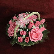 Букеты ручной работы. Ярмарка Мастеров - ручная работа Букет из конфет в корзине розовый. Handmade.