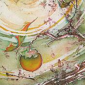 Картины и панно ручной работы. Ярмарка Мастеров - ручная работа Батик картина. Осень. Хурма. Листьев полет.. Handmade.